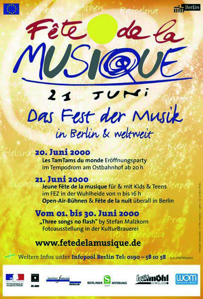 Poster für die Fête de la Musique 2001 in Berlin