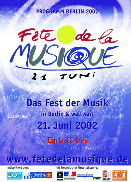 Poster für die Fête de la Musique 2002 in Berlin