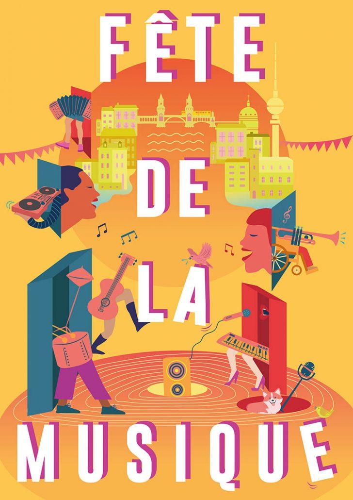 Poster für die Fêtede la Musique 2018 in Berlin