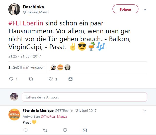 Auszug aus Twitter für die Fete de la Musique #FETEBerlin