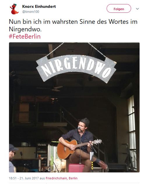 """Twitterauszug mit Foto 2017 vom """"Nirgendwo"""" Club"""