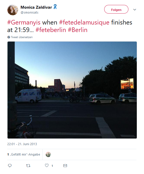 Twitterzitat mit Bild von Berlin bei Nacht #FETEBerlin